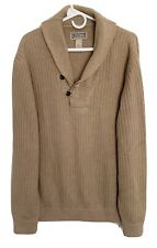 DULUTH TRADING CO Mens Shawl Collar Sweater Cotton Wool Blend Ribbed Tan XL