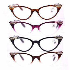 Women Sexy Reading Glasses Fashion Cat Eye Spring Hinge Readers Plastic +1.0~3.5