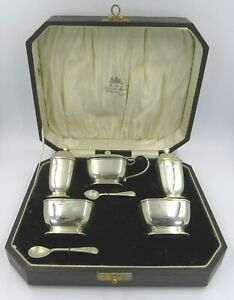 Cased Vintage Sterling Silver 7-Piece Cruet Set William Suckling 1934-35