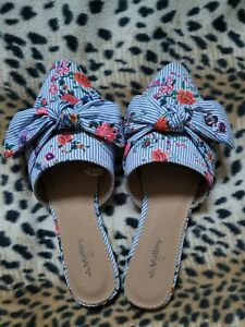 Valley Girl Striped/Floral Mules Slip on Flats Shoes - Size 7