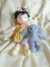 Knitted Waldorf Doll with Elephant Toy - Hand Knitted Soft - New Custom Crafted