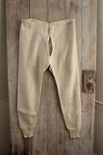 Vintage French Long John's cotton knit men's exercise pants c 1930 cotton heavy