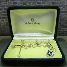 Vintage Mikimoto Pearls in Southern Cross Pin/ Brooch & Earrings Set in Box