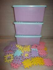 "Lot Little Tikes Wee Waffle Pastel 4"" Blocks 105 Pcs For Girls + Storage Bins"