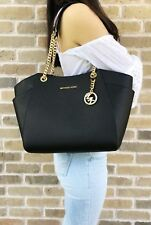 Michael Kors Jet Set Travel Chain Shoulder Tote Bag Black Saffiano Leather