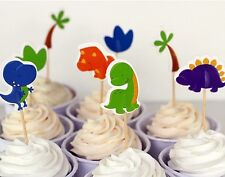 12x Dinosaur Land CUPCAKE CAKE TOPPERS Party Jelly Cup Birthday