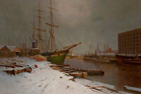 London Harbor in the Snow by Charles Brooke Branwhite 75cm x 50cm Canvas Print