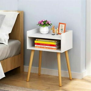 Wood Bedside Tables with Open Drawer Nightstand Cabinet InDoor Furniture Storage