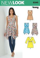 NEW LOOK SEWING PATTERN Misses' TOPS WITH LENGTH VARIATIONS SIZE 10-22 6345 SALE