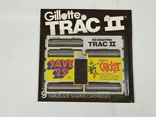 Vintage Gillette Trac II Shaving Twin Blade Cartridges 9 Blades NOS USA Cricket