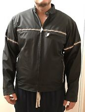 NEW NDX Nederland Black PVC Outdoor Jacket with Silver Stripes Size XL, Unisex