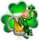 """Leprechaun Clover Beer Irish  Lucky Charm Car Bumper Vinyl Sticker Decal 4.6"""""""