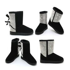 SPARKLY DIAMANTE FLAT FUR LINED WOMENS CALF WINTER SNOW ANKLE BOOTS SIZE 4-9 UK