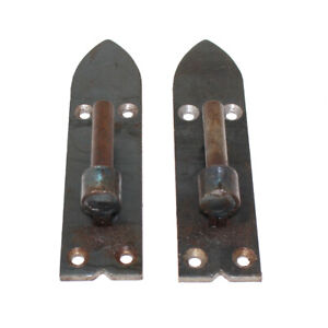 PAIR OF HEAVY DUTY GATE HOOK ON BACKPLATE 12mm GOTHIC HINGE PINS SELF COLOUR