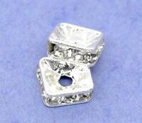 Großhandel Versilbert Strass Quadrat Spacer Perlen Beads 6x6mm