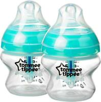 Twin Pack Tommee Tippee Baby Bottle 150ml Advanced Anti-Colic Heat Sensing 0M+