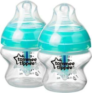Twin Pack Tommee Tippee Baby Bottle 150ml Advanced Anti-Colic Heat Sensing 0M+