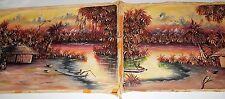 (2) Original Vintage Congo River Art, African Oil Paintings on Wheat Flour Sacks