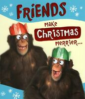 Friends Make Christmas Merrier Christmas Greeting Card Xmas Cards