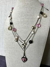 NWT 100% Betsey Johnson Pink Crystal Heart Key Lock Flower Necklace