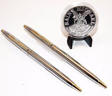 """Police Chrome and Gold Classic Pens with Saint Michael's """"Keep Us Safe Coin"""""""