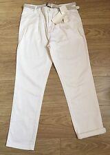 Zara WOMAN DENIM nuevo desgaste de algodón chinos Pantalones Blanco Jeans UK 8 EU 36 ZJ358