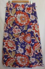 TORY BURCH ~ Violet Orange Red Pink White Floral Cotton Rayon Long Skirt 12