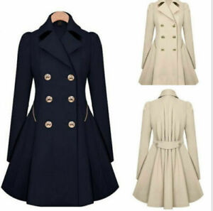 2021 Winter Double Breasted Trench Dress Coat Lapel Jacket Fit Flare Outwear