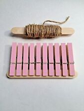 Pink Clothes Pin Picture Hanger Hand Painted, Gift Bags, Clothes line, 10 Pins