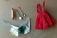 Vtg Barbie 'What's Cooking' red apron spoon rolling pin spatula floral 60s