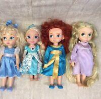 "Disney Animator Dolls Bundle Talking Singing Elsa Cinderella Rapunzel Merida 16"""