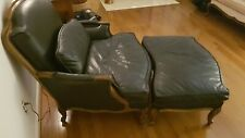 Late 20th Century Black Leather Bergère Chair w/Ottoman - LOCAL PICKUP ONLY
