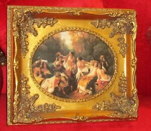 PAINTING - SCREEN PAINTING ON PORCELAIN IN BEAUTIFUL GOLD FRAME - #MY150
