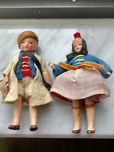 "2 Antique 1930's HERTWIG Miniature 4"" German Jointed Doll House Dolls Boy & Girl"
