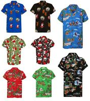 Christmas Hawaiian Shirt Mens Santa Loud Hawaii Surf Xmas Hat Party Slay S-4XL