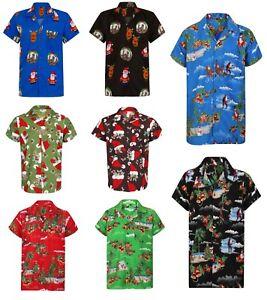 Christmas Hawaiian Shirt Mens Santa Loud Hawaii Surf Xmas Hat Party Slay S-5XL