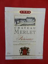 étiquette de vin Château Merlet 1996 Bordeaux