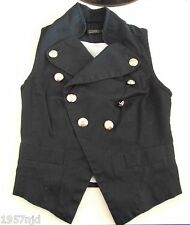 Women's Blue Silver Button Collared Waistcoat Vest by George Size 4
