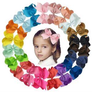 """Girls Hair Bows Clips Boutique Grosgrain Ribbon Bows Big Hair Bows 20pcs 6"""""""