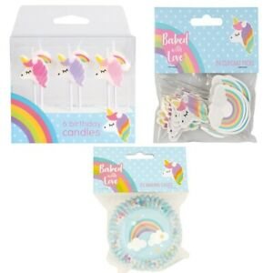 Unicorn Rainbow Birthday Cake Party Pack Topper Candles Cupcake cases Picks Girl