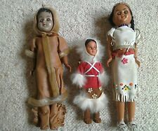 3 Vintage 1960/70s Native Indian Costume Dolls with babies on back