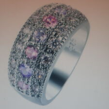 Beautiful Silver Ring With Pink Purple White CZ Band 3 Gr. Size L - N - P12