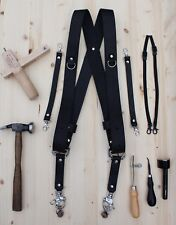 Dual Multi Camera Black Leather Harness Shoulder Strap Made By Hand in England