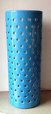 """Ceramic Turquoise Cylindrical 16"""" Lamp with Holes"""