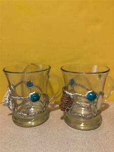 New~ Lot of 2 ~ Turquoise stone and silver Coffee~ Mugs~Southwest~Glass~Unique