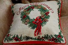 "14x14"" Handmade Christmas Wreath Needlepoint Pillow Cushion"