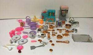 Vintage BARBIE KITCHEN ACCESSORIES LOT 1999 - 2000  50 + pieces