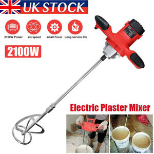 2100W Electric Plaster Paddle Mixer Mortar Paint Cement Stirrer Whisk 6 Speed UK