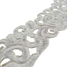 Decorative Sari Border Trim Craft Cut-Work Silver Ribbon 7.1 Cm Wide By 1 Yard