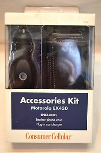 CONSUMER CELLULAR ACCESSORIES KIT MOTOROLA EX430 LEATHER CASE, CAR CHARGER(BIN8)